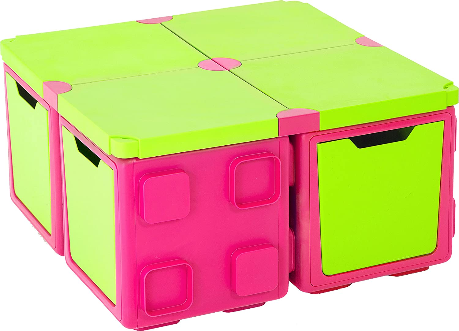 Chillafish Box and BOXTOP Bundle: Connectable Toy Storage and Play System, Table Pack, Pink/Lime CPCB01TPI