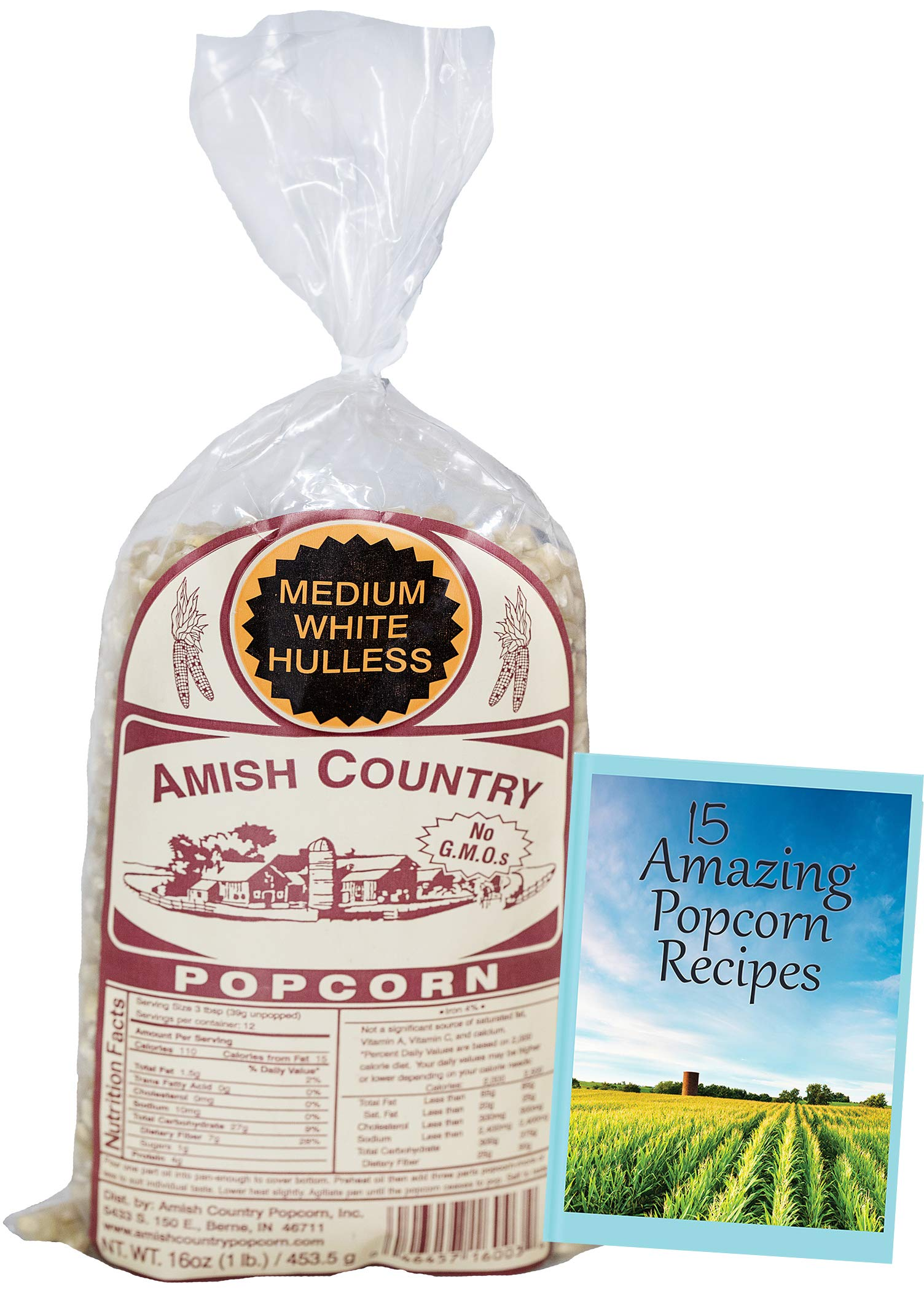 Amish Country Popcorn - Medium White Popcorn (1 Pound Bag) - Old Fashioned, Non GMO, Gluten Free, Microwaveable, Stovetop and Air Popper Friendly - Recipe Guide by Amish Country Popcorn (Image #2)