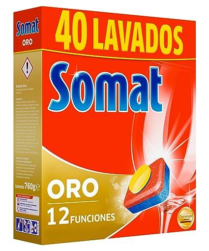 Somat Oro Detergente Limpia Vajillas Máquina - 40 Pastillas