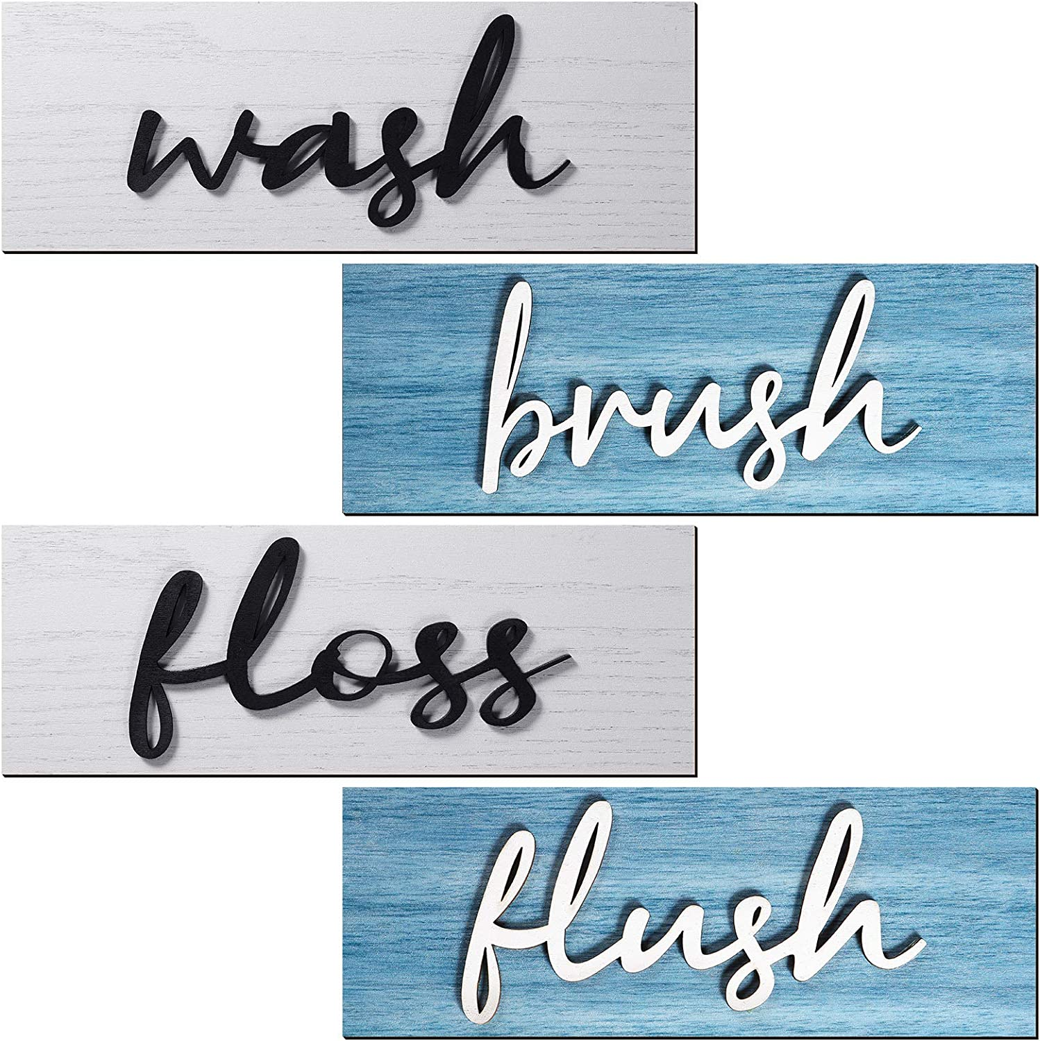 4 Pieces Farmhouse Bathroom Wall Decors Wash Brush Floss Flush Signs Rustic Hanging Wooden Signs Primitive Bathroom Wall Arts Vintage Wooden Decorations for Home Laundry Room Bathroom (Blue, White)