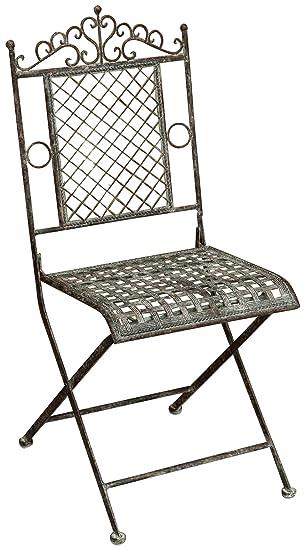 Juego de 2 sillas plegables en hierro forjado acabado ...