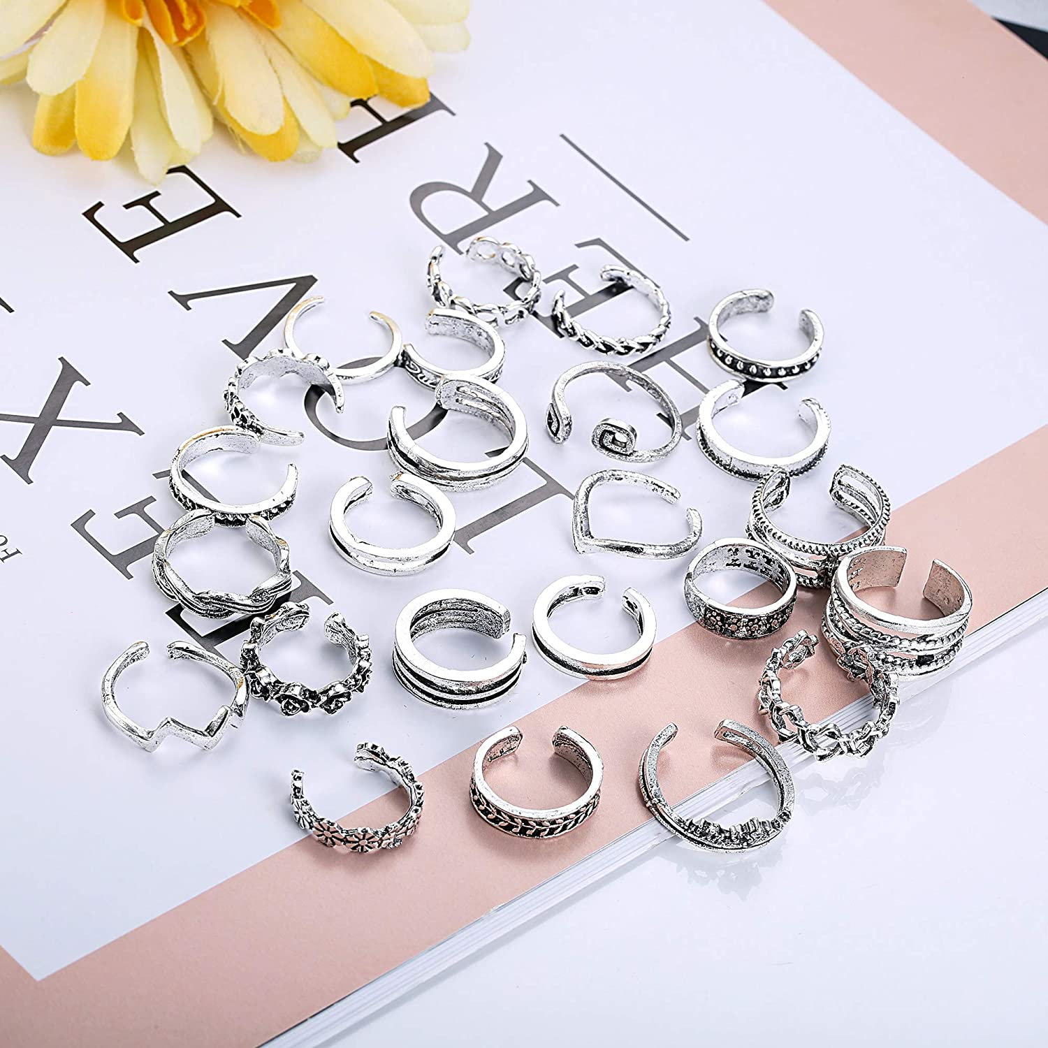 Finrezio 24PCS Open Toe Rings Set for Women Girls Various Types Knuckle Ring Vintage Retro Finger Ring Adjustable