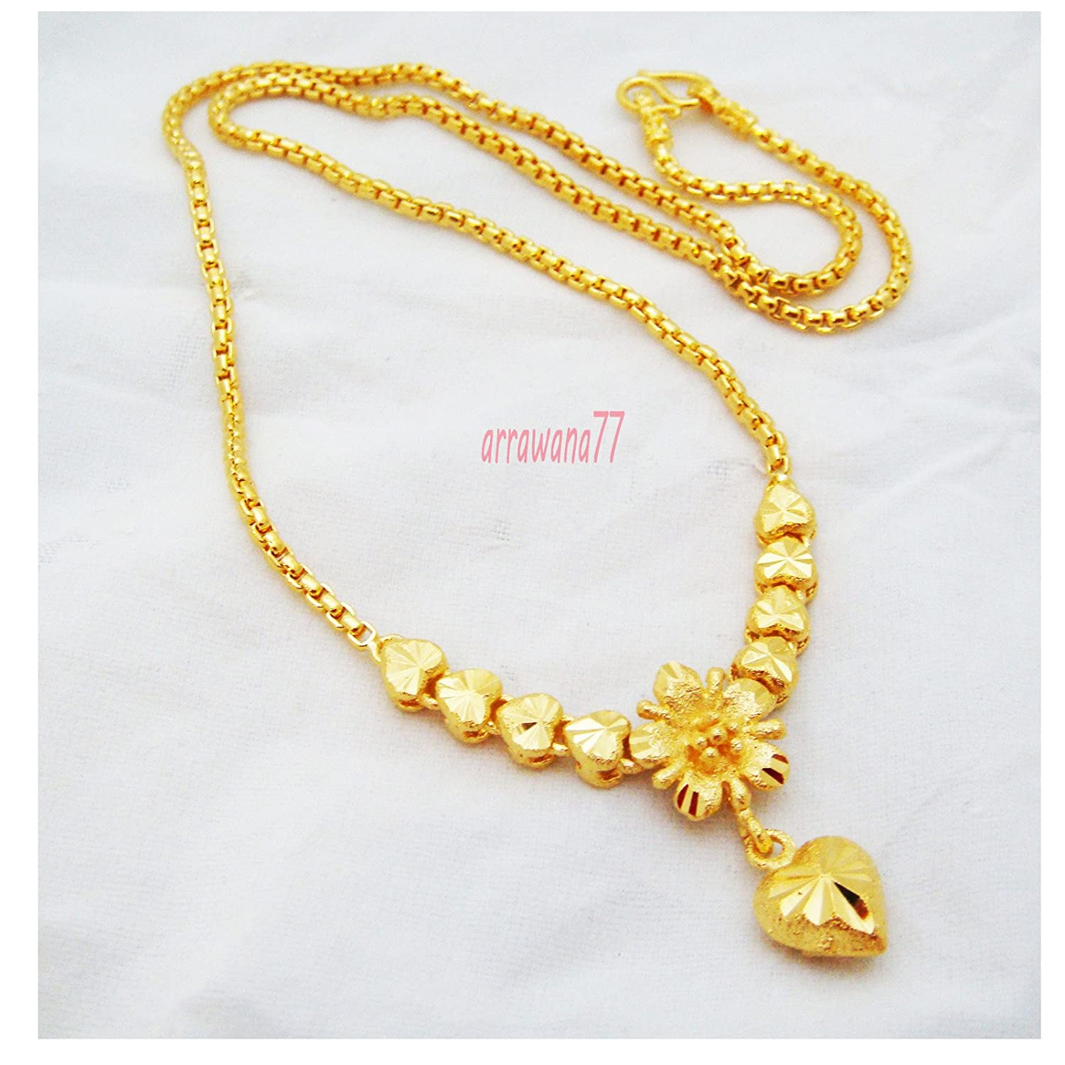 Amazoncom Flower 24k Thai Baht Yellow Gold Plated Filled Necklace