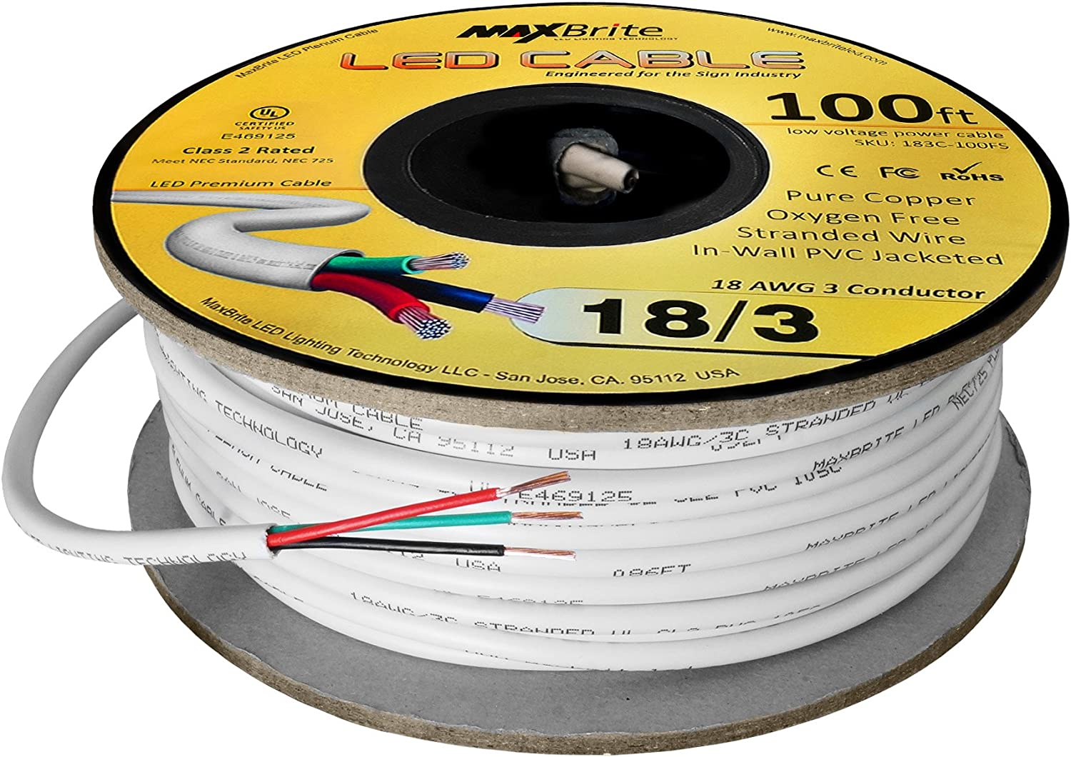 18AWG Low Voltage LED Cable 3 Conductor White Sleeve in-Wall Speaker Wire UL/cUL Class 2 (100 ft Reel): Home Audio & Theater