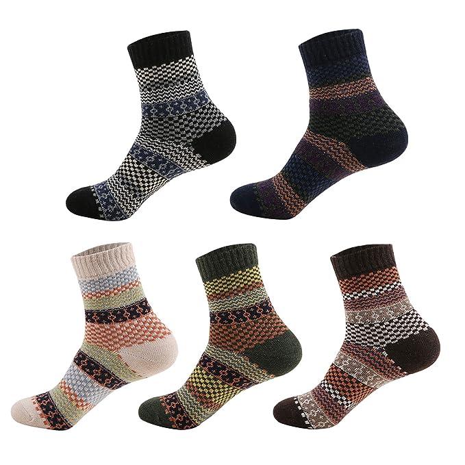 Vococal - Calcetines a rayas de 5 pares de colores mezclados de hombre Calcetines a rayas