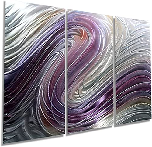 Radiant Fusion of Purple, Silver Pecan Jewel Tone Modern Abstract Hand-Painted Metallic Wall Sculpture – Home Decor, Contemporary Metal Wall Accent – Flowing Dreams by Jon Allen – 50 x 36