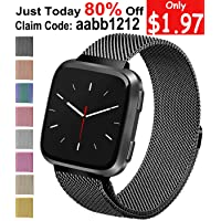 Deals on Vancle For Fitbit Versa Bands, Stainless Steel for Fitbit