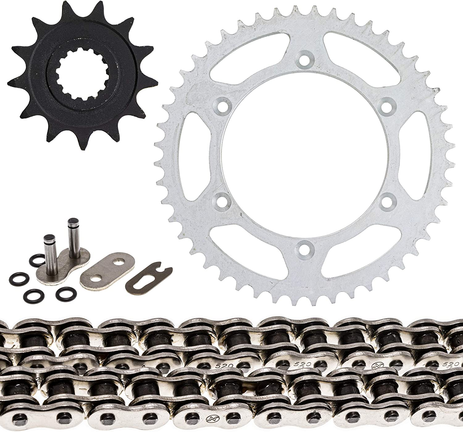 NICHE Drive Sprocket Chain Combo for Gas Gas EC 250 250E 250R 250 2T Front 13 Rear 48 Tooth 520V O-Ring 112 Links