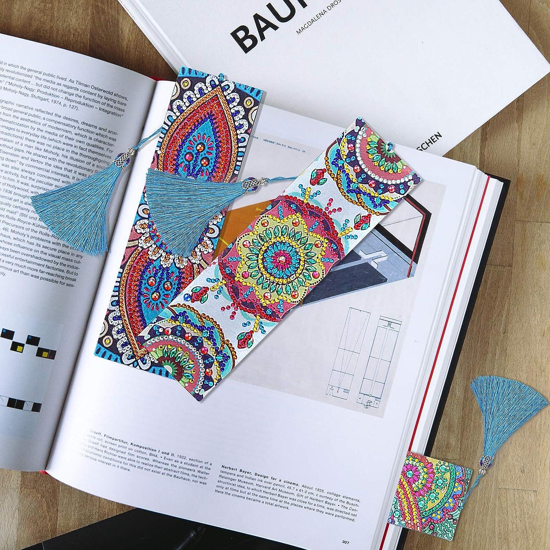 MWOOT 3 Pi/èces 5D Marque-page de Peinture Diamant,DIY Signets de Perles Cuir avec Glands,Diamond Paintings Bookmark,Broderie Craft Cadeau pour Lecture des /Étudiants Mandala