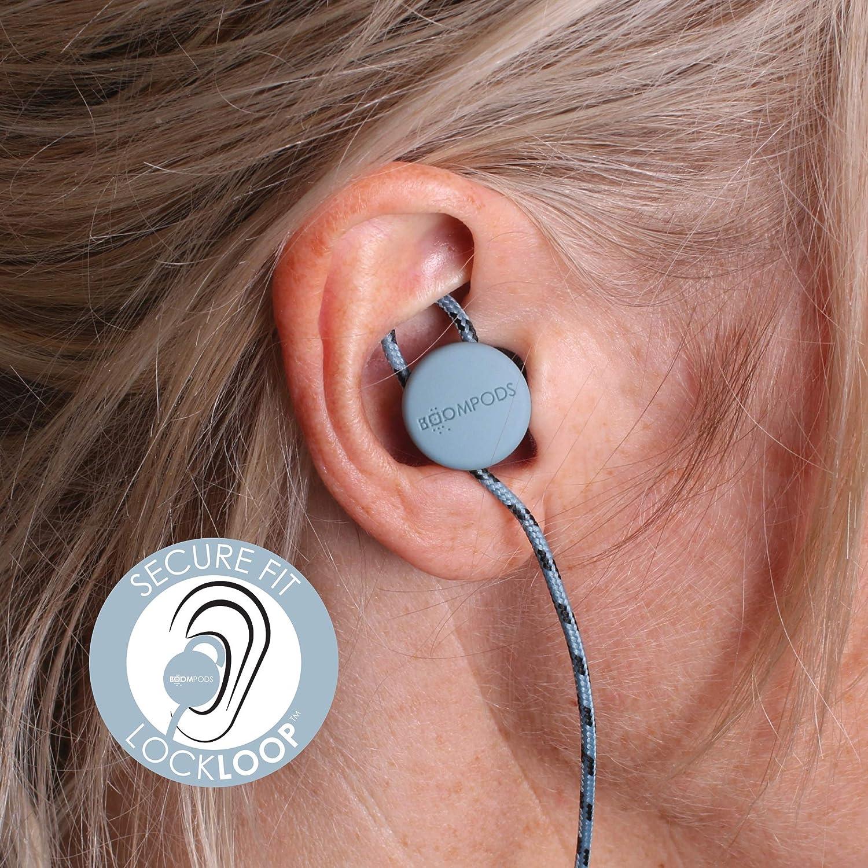 Boompods Retrobuds in-Ear Bluetooth Workout Headphones (Black/Grey) Wireless Adjustable Earbuds - Powerful Bass - Sweatproof Ice Blue