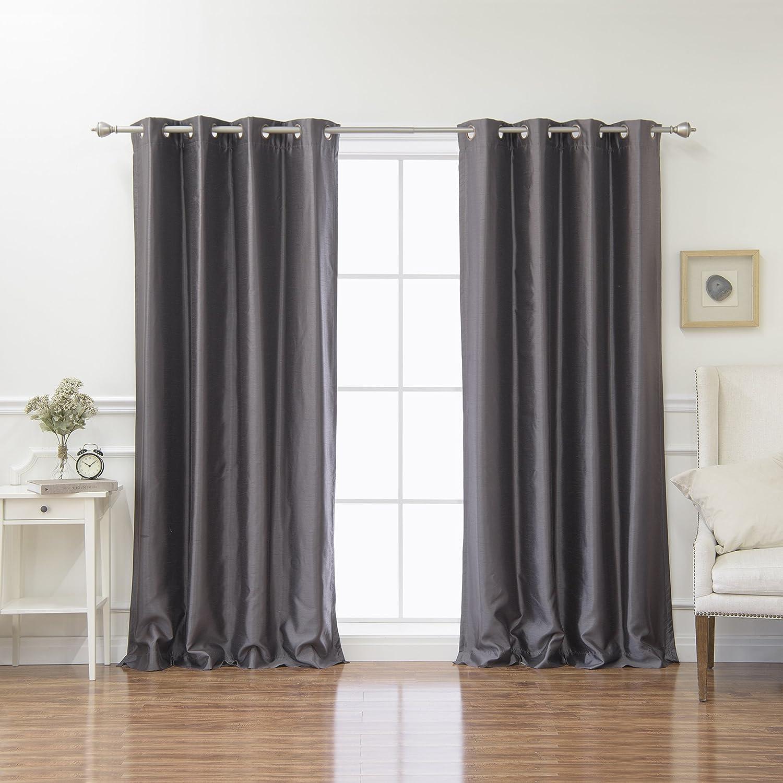 Best Home Fashion Dark Grey Dupioni Faux Silk Grommet Top Blackout Curtain 96 L 1 Pair Home Kitchen