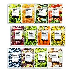 FARMSKIN Superfood Salad For Skin Beauty Facial Sheet Mask 12 Sheets Set, Assorted Value Pack