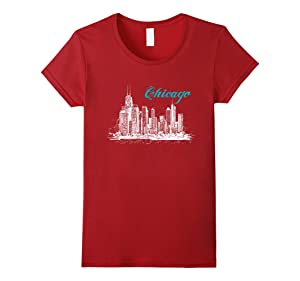 Women's City of Chicago 2017 T-Shirt Small Cranberry