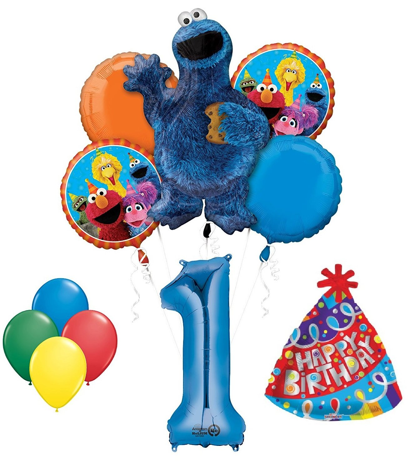 Amazon Cookie Monster Sesame Street 1st Birthday Party Supplies And Balloon Decorations Set Of 11 Toys Games