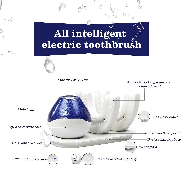 Cepillo de dientes eléctrico ultrasónico, cepillo de dientes recargable inalámbrico automático de 360 °, cabezal de cepillo de dientes eléctrico doble, ...
