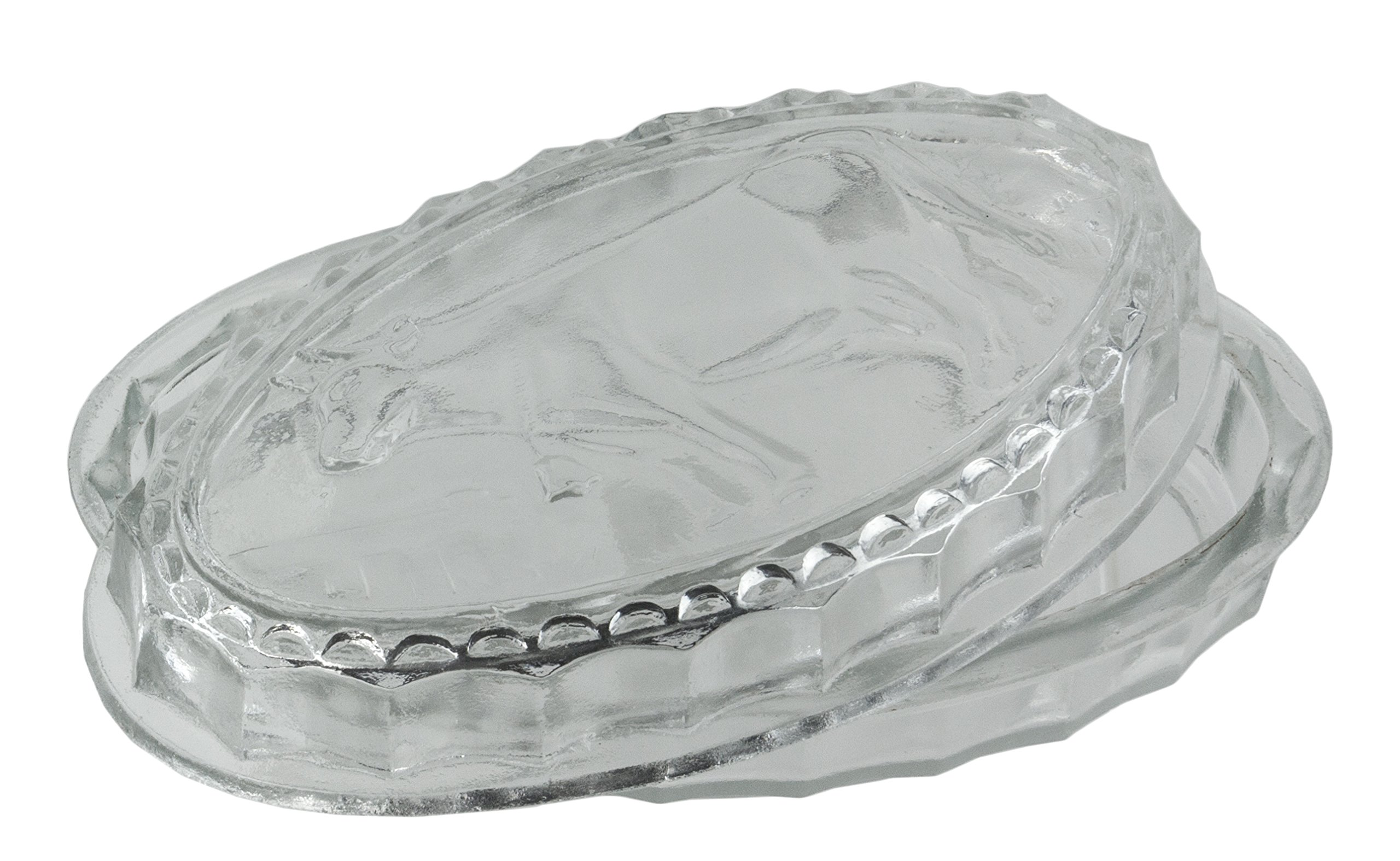 Vintage Style Lidded Clear Glass Cow Cheese & Butter Dish - Aged Farmhouse Chic Home Decor
