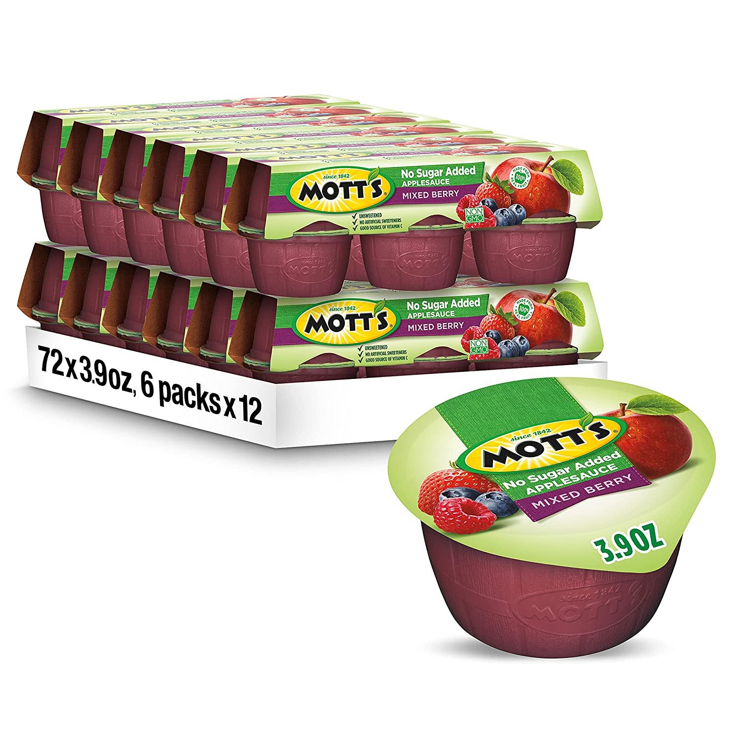 Mott's Sauce-Country Berry (3.9-Ounce Cups), 6-Count Packages (Pack of 12)
