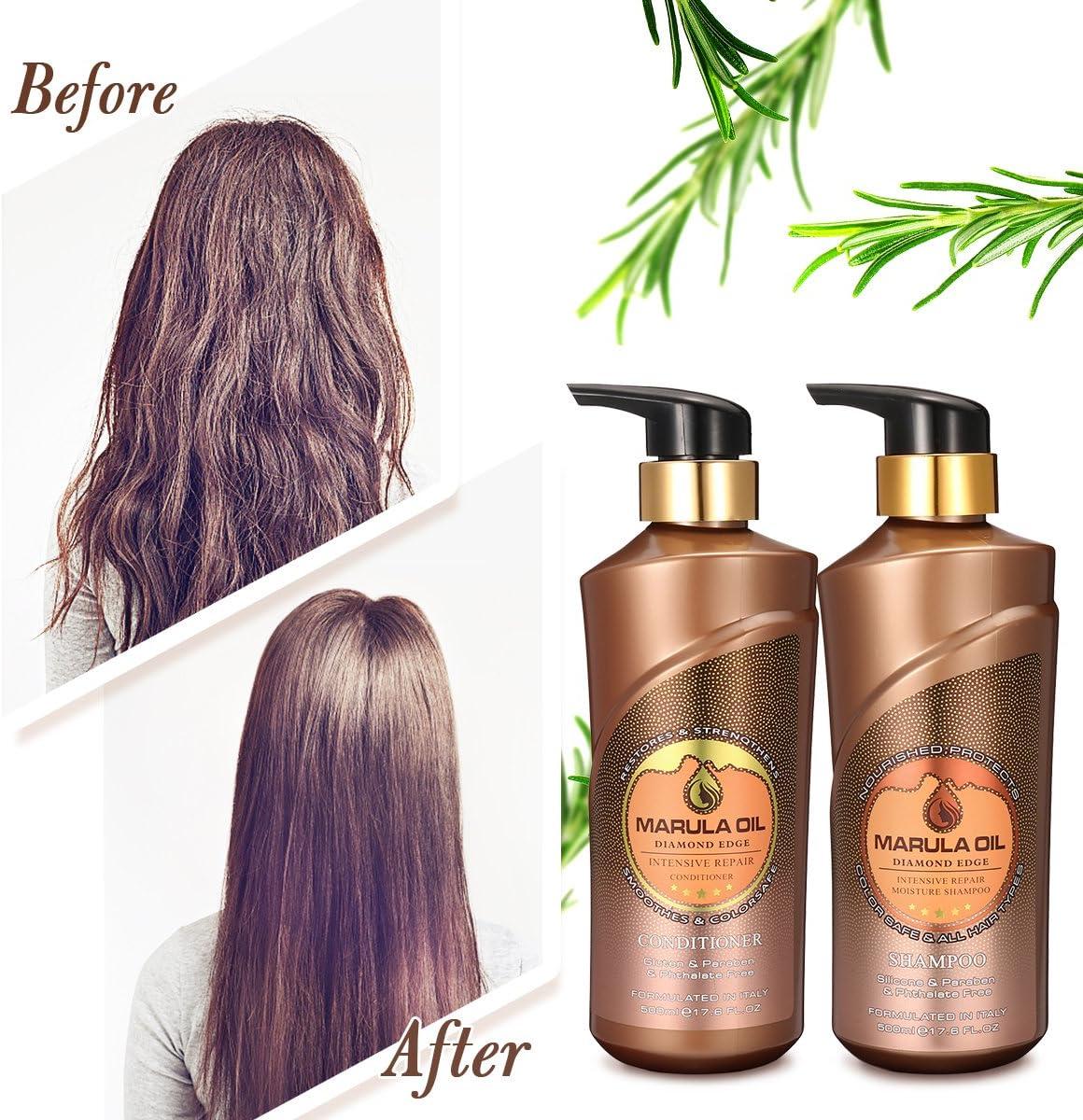 Luckyfine Kit Champú y Acondicionador - 2 botellas x 500 ml | Rico en Aceite de Marula, Tratamiento nutritivo y profunda para el cabello, reparación pelo, dejan el cabello suave, brillante y