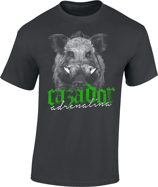 Camiseta: Cazador Adrenalina - Jabalí - T-Shirt Caza - Hombre-s y Mujer-es - Verraco- Outdoor - Trabajo - Bosque - Animal - Salvajina - Ciervo - Hunter - Regalo para Cazador: Amazon.es: Ropa y accesorios
