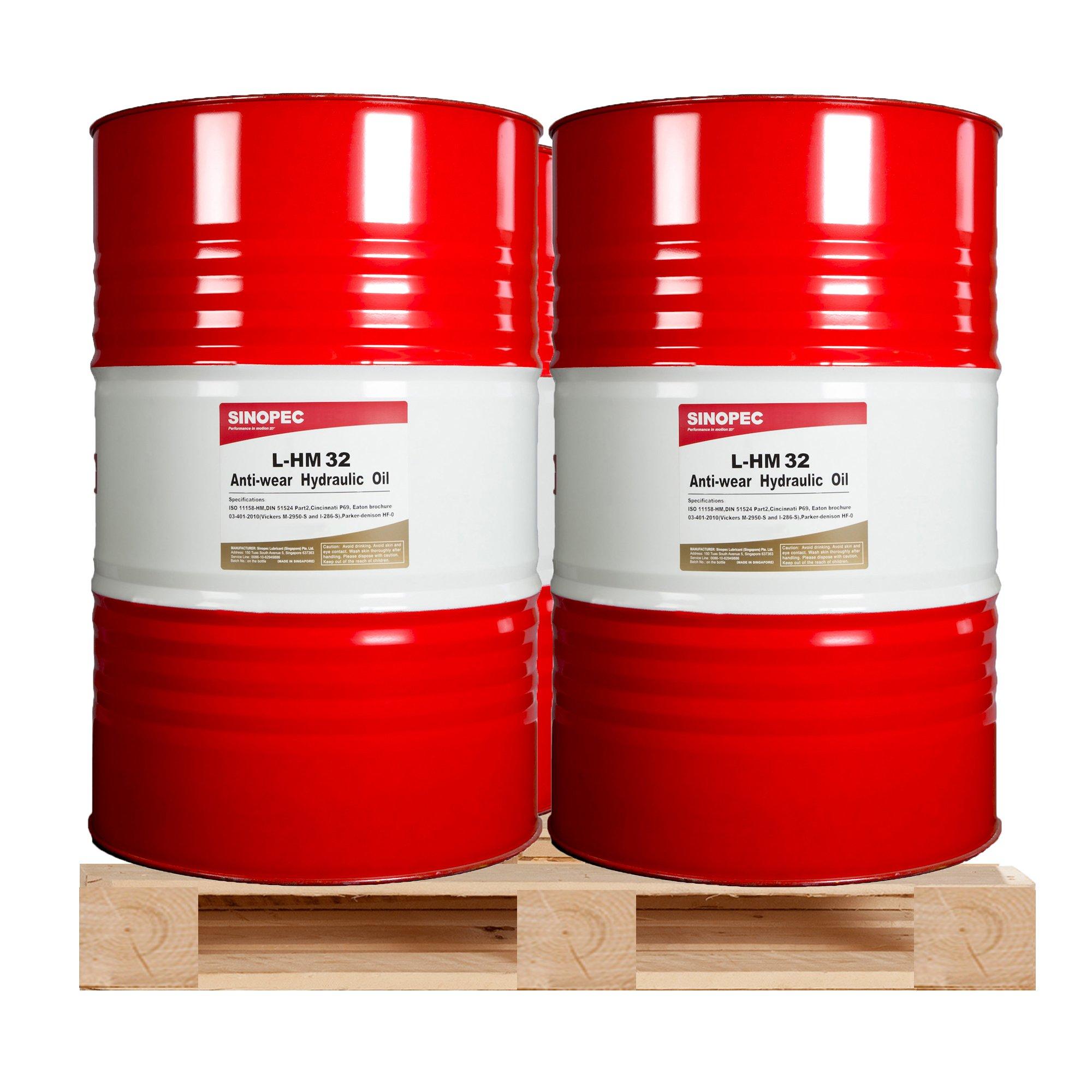 (4 Drum Bundle) AW 32 Hydraulic Oil Fluid (ISO VG 32, SAE 10W) - (4) 55 Gallon Drum by Sinopec