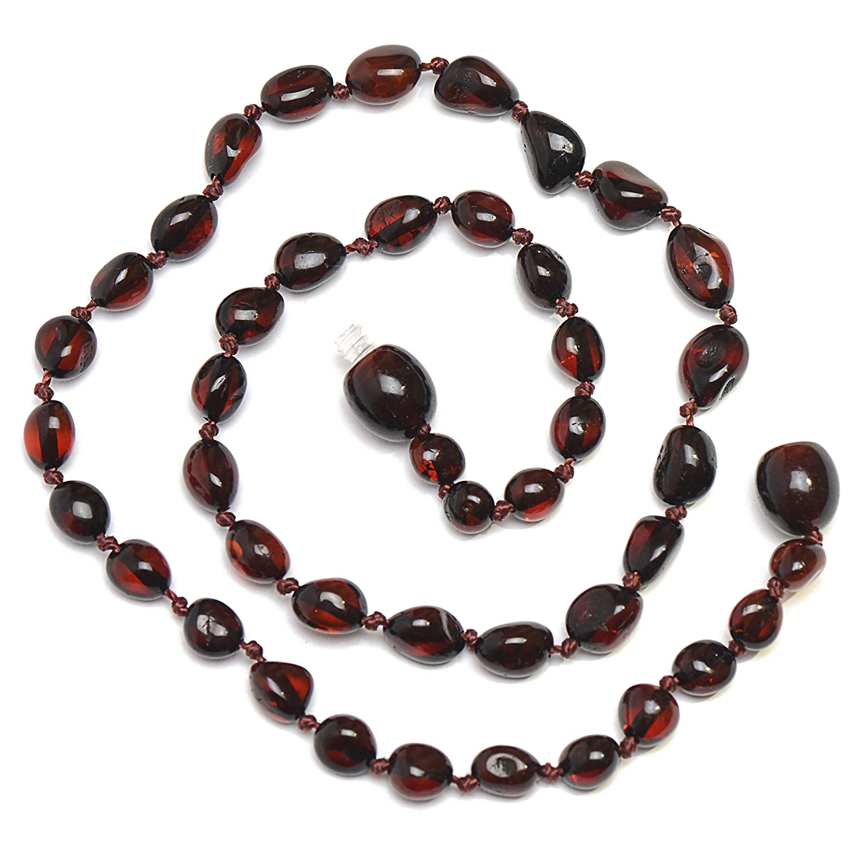Dark Cherry 100% Raw Amber Teething Necklace for Baby - Genuine Baltic Amber Genuine Amber
