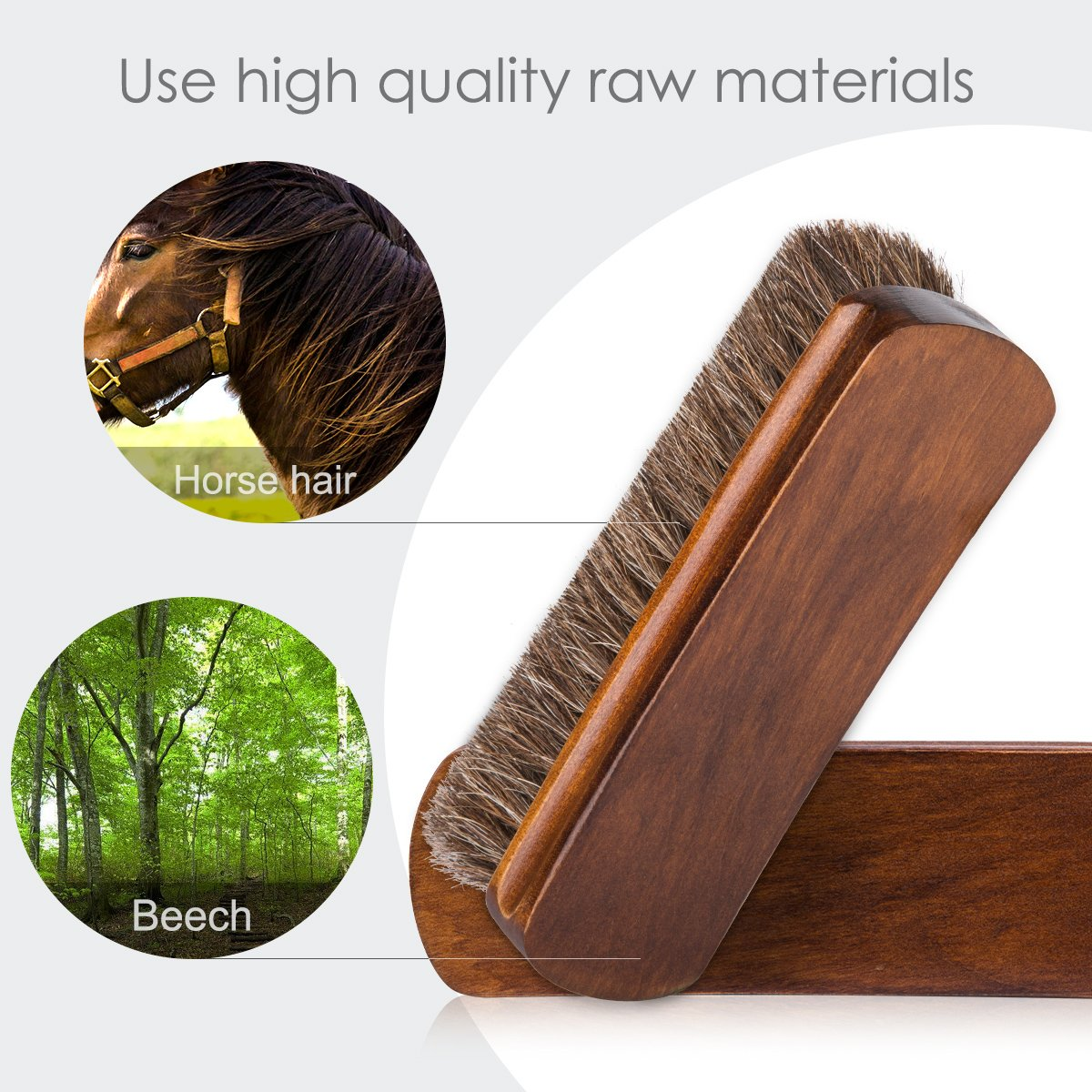 6.7'' Horsehair Shoe Brushes with Horse Hair Bristles for Boots, Shoes & Other Leather Care, 2 Pack (Brown) by Foloda (Image #4)
