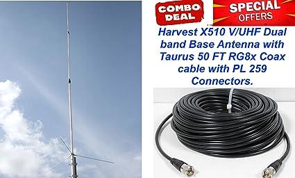 amazon com harvest x510 v uhf 2m 440 dual band base antenna with 50