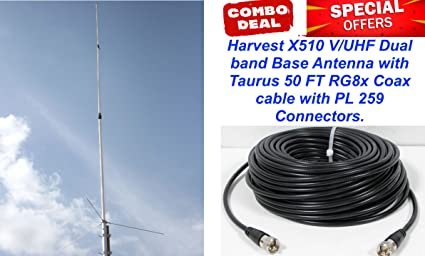 Harvest X510 V/UHF 2m/440 dual band base Antenna with 50 Ft Coax