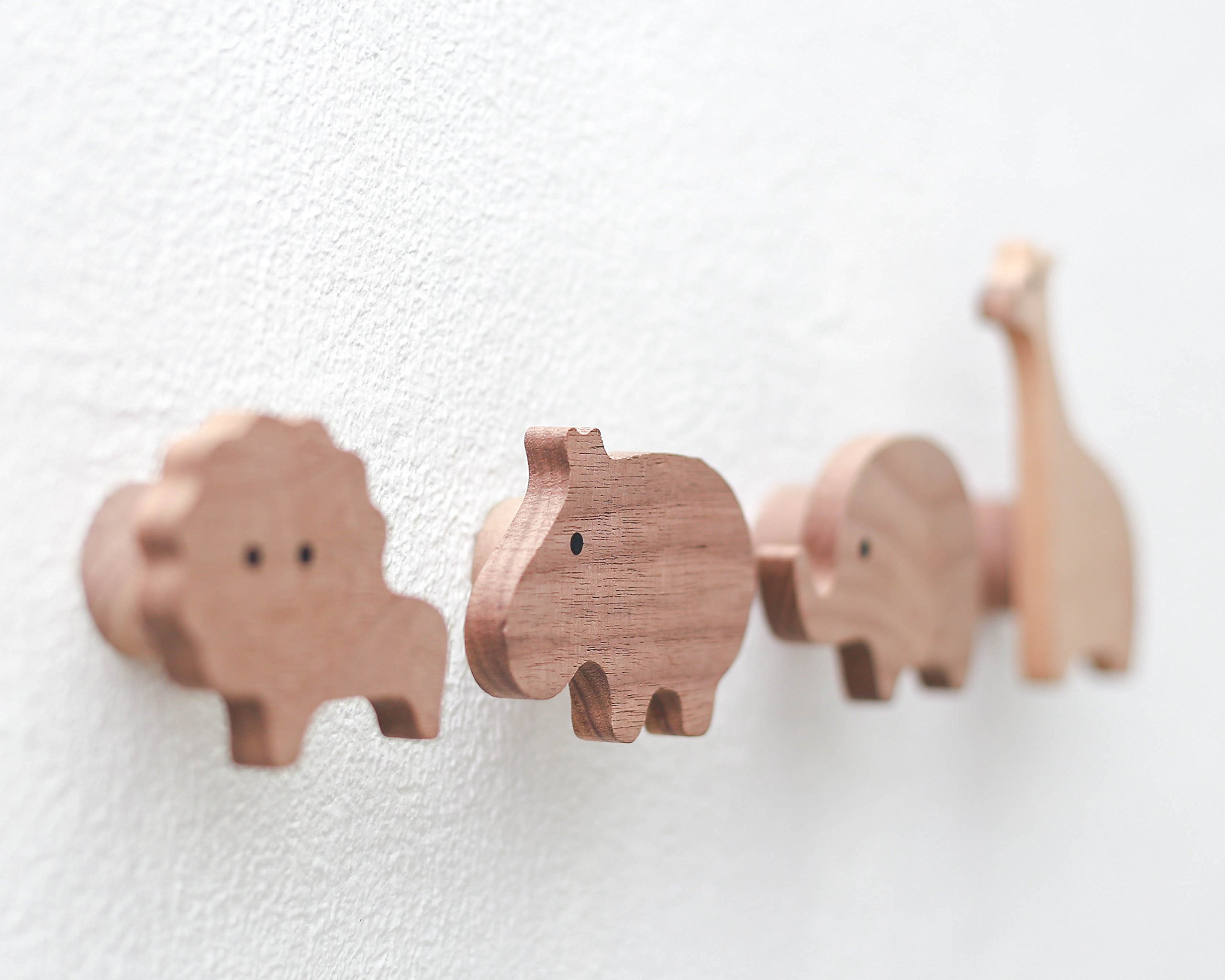 Natural Wooden Wall Hooks for Kids - 100% Solid Walnut Wood, Handmade Animal Clothes Hanger Wall Mounted Hook Organizer - Child Room Decorative Design - Pack of 4