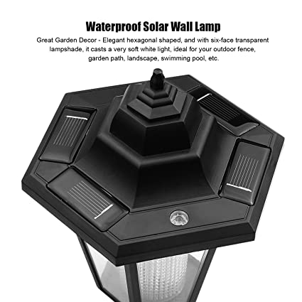 onever solar vintage wall lamp outdoor led hexagonal wall light wallmounted landscape garden fence yard lamps waterproof warm white amazoncom