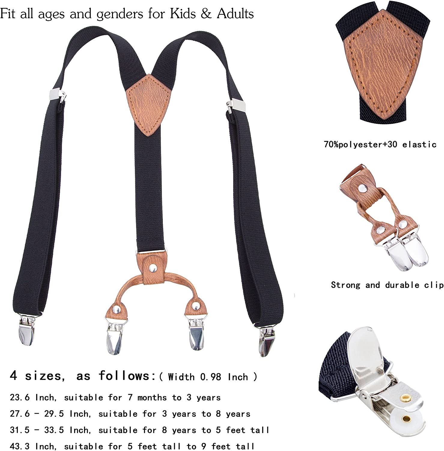 Children Boys Girls Adjustable Suspenders Y Back Heavy Duty Suspender with 4 Sizes for Children Adults