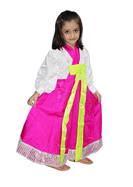 d50bc40aff1 Kaku Fancy Dresses Korean Girl Costume of International Traditional Wear  for Kids School Annual Function/Theme Party/Competition/Stage  Shows/Birthday ...