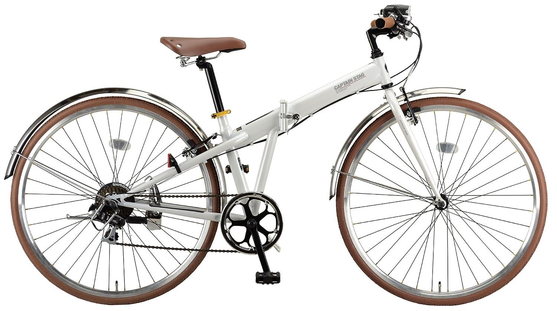 キャプテンスタッグ(CAPTAIN STAG) ブラッシュアップ 700C 折りたたみ自転車 FDB7007 [ シマノ7段変速 / LEDバッテリーライト / 前後ステンレスフェンダー / クロスバイク / BAA ]標準装備 B00KD769GO パールホワイト パールホワイト