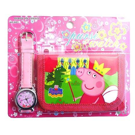 Peppa Pig niños de juego de reloj tipo cartera para niños niños niños niñas gran Navidad