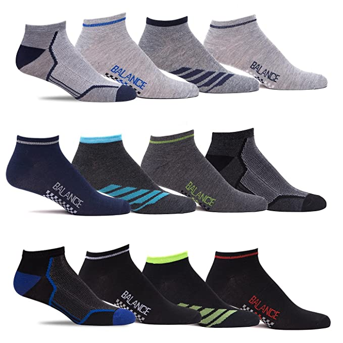 Mens Bulk Multi Color Lightweight Stretch Low Cut Athletic Ankle Socks 12 Pack