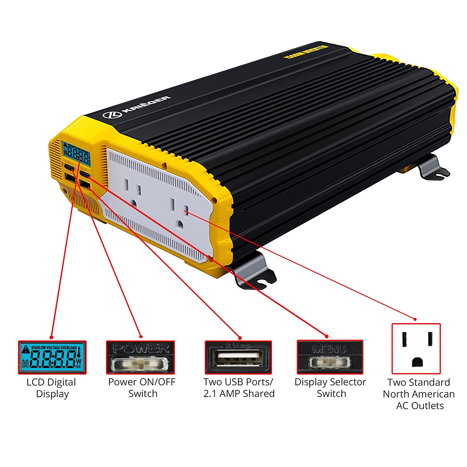 Kriger 1100 Watt 12v Power Inverter Dual 110v Ac 110 To 12 Volt Dc Converter Wiring Diagram Outlets Installation Kit Included Automotive Back Up Supply For Blenders Vacuums