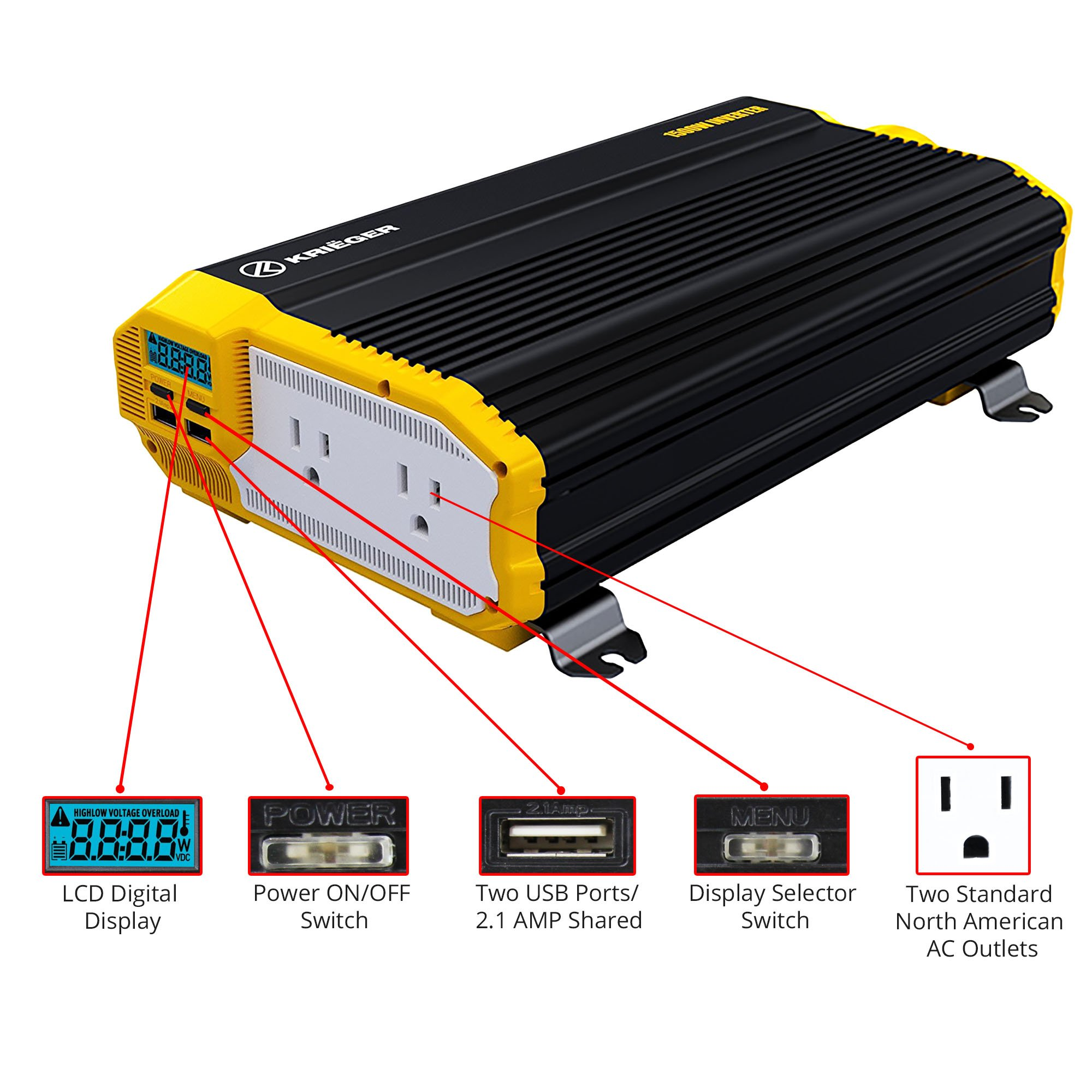 KRIËGER 1100 Watt 12V Power Inverter Dual 110V AC Outlets, Car Inverter Installation Kit Automotive Back Up Power Supply For Blenders, Vacuums, Power Tools. MET Approved To UL and CSA by KRIEGER (Image #3)