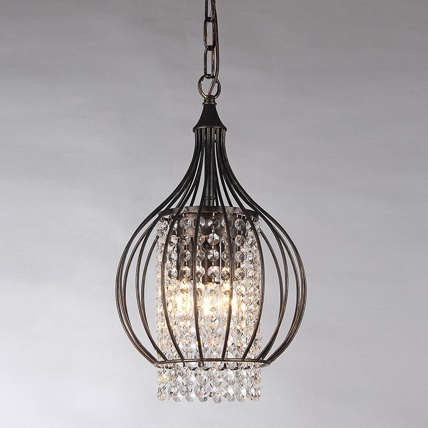 mini light ceiling shades lighting finish lamp pendant products antique bronze crystal birdcage starthi chandelier wrought iron lantern with