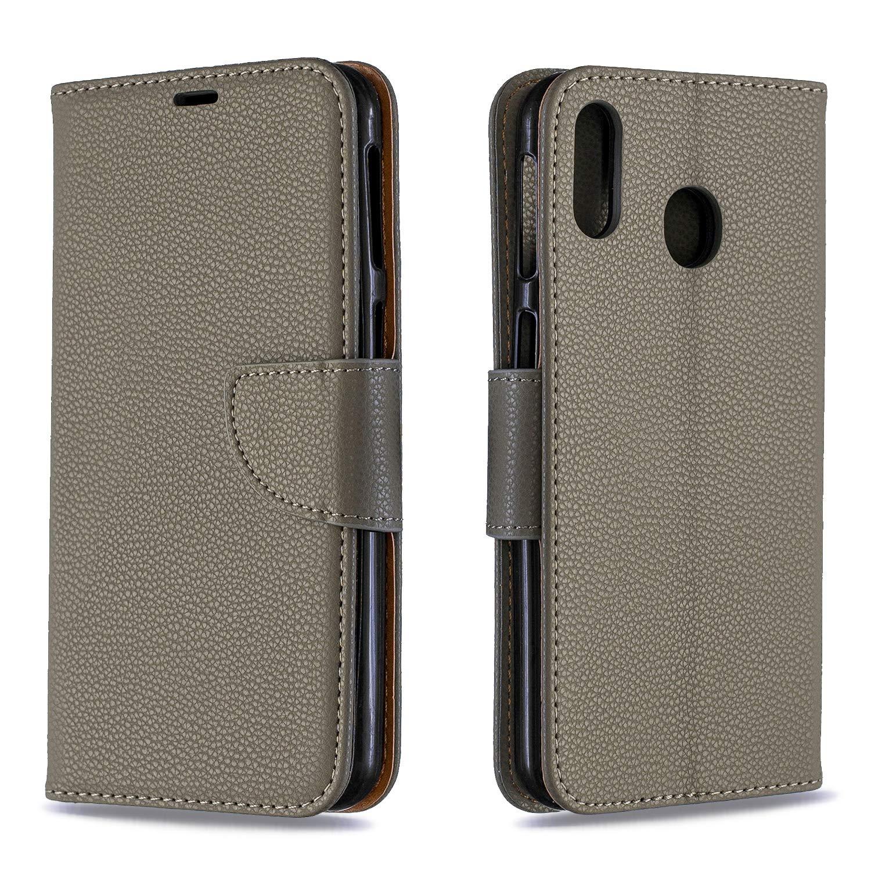 Bear Village® Coque Galaxy M20, Élégant Étui en PU Cuir avec Fonction Support pour Samsung Galaxy M20, Premium Magnétique Portefeuille Coque, Gris