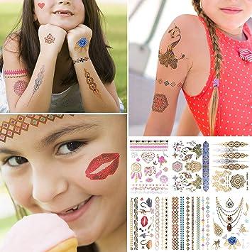 Tattoos Set Temporäre Tattoos Kinder Gold Lecou 6 Blätter Aufkleber Sticker Wasserdicht Körperkunst Körper Gefälschte Schmuck Body Art Für Mädchen