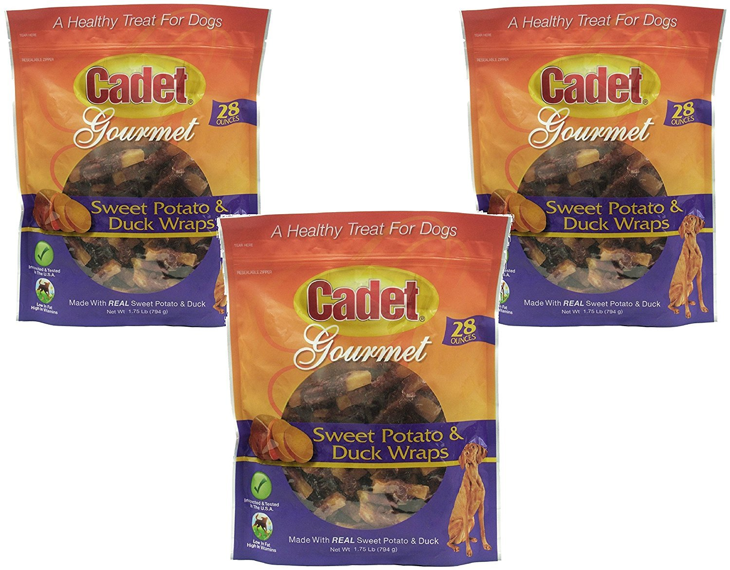 3 Pack Cadet Duck and Sweet Potato Dog Treat Wraps, 28 Ounces each