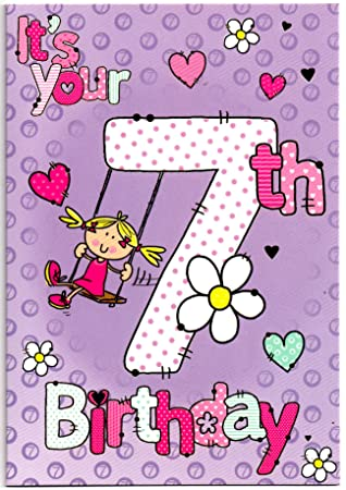 Birthday Card For Seven 7 Year Old Girl