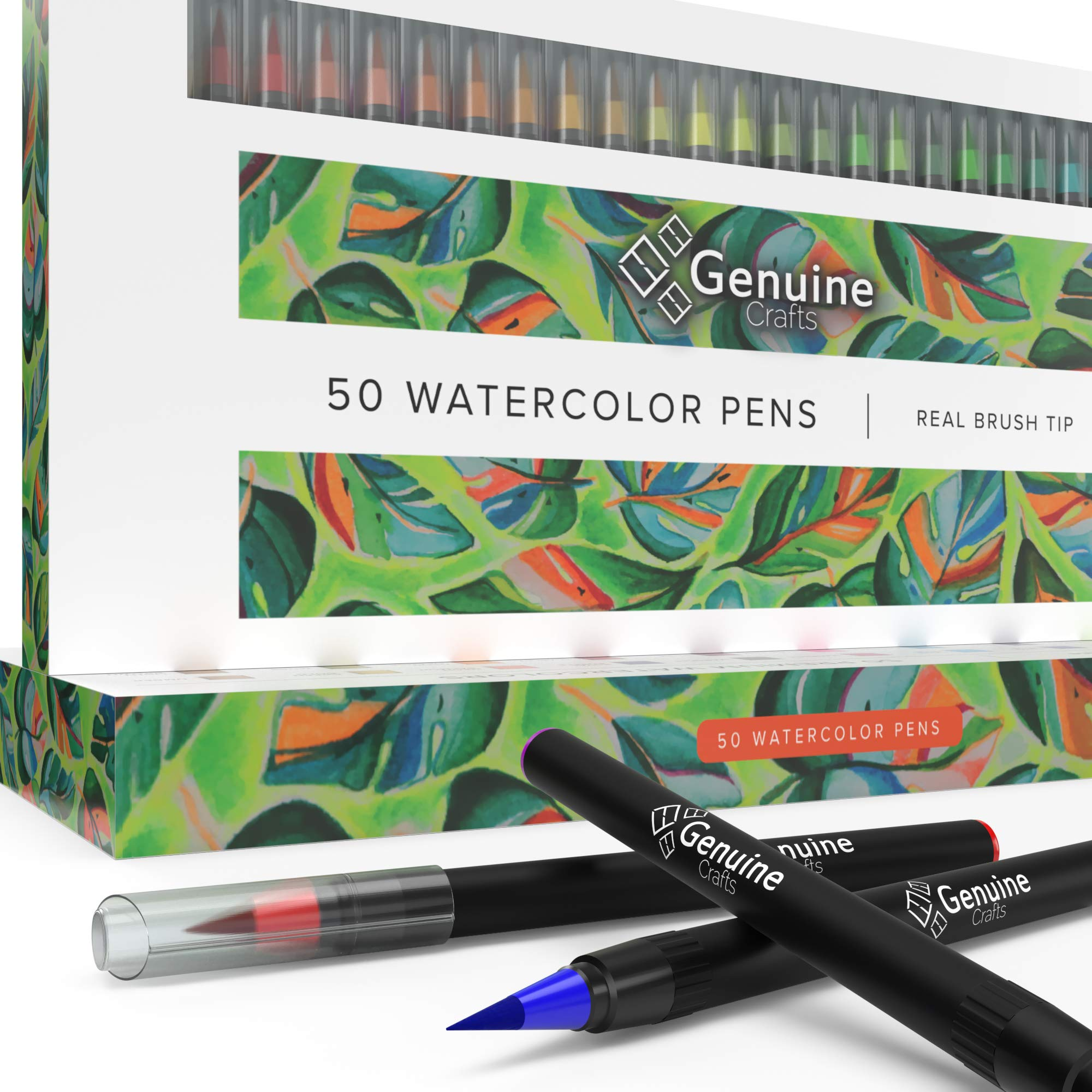 Watercolor Brush Pens by Genuine Crafts - Set of 50 Premium Colors - Real Brush Tips - No Mess Storage Case - Washable Nontoxic Markers - Portable Painting