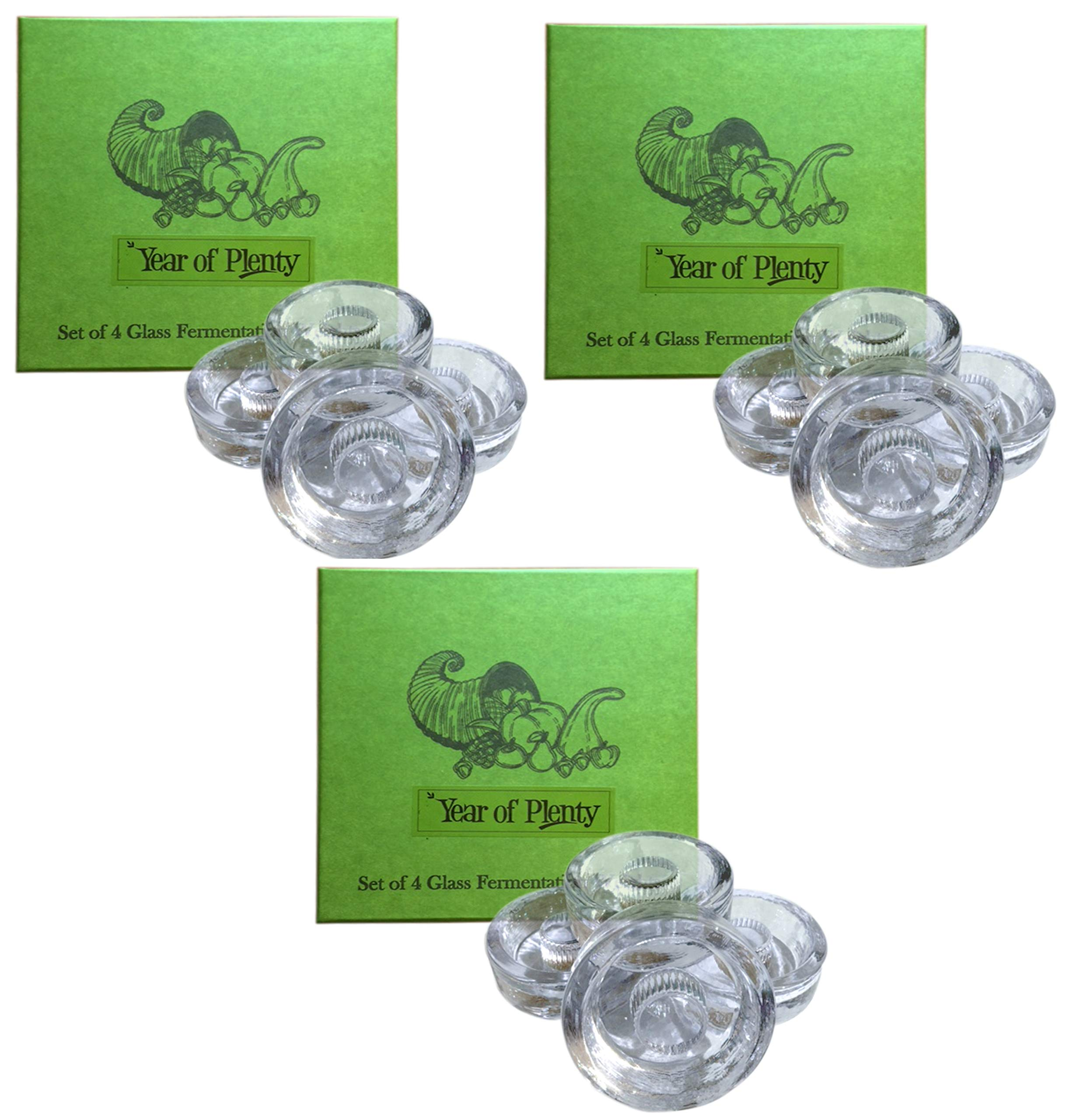 Year of Plenty Fermentation Weights - NonSlip Grip Handle - for Fermenting Sauerkraut, Pickles, Kimchi in Wide Mouth Mason Jars - Lead/Cadmium Free - (Set of 12) by Year of Plenty
