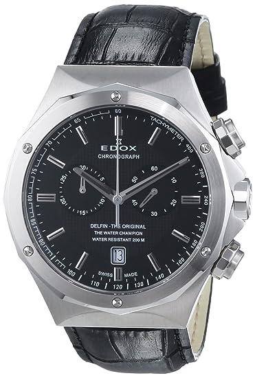 EDOX - Reloj de cuarzo unisex, correa de cuero color negro: Amazon.es: Relojes