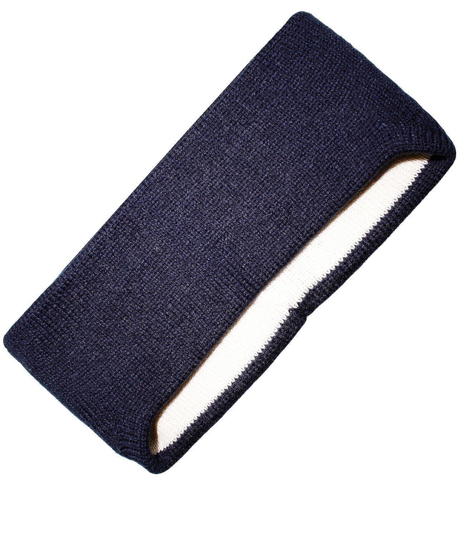 EveryHead Fiebig Herrenstirnband Stirnband Strickstirnband Wollstirnband Winterstirnband einfarbig mit Ohrenverlängerung für Männer (FI-45736-W16-HE0) inkl Hutfibel