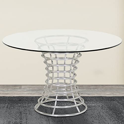 Armen Living LCIBDIB201 Ibiza Dining Table with Silver and Brushed Stainless Steel Finish