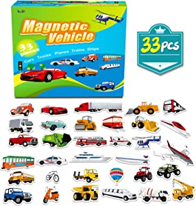 Spritegru 33 PCS Vehicle Foam Magnets for Toddlers Kids , Perfect for Preschool Learning (Land Air Ocean All Included)