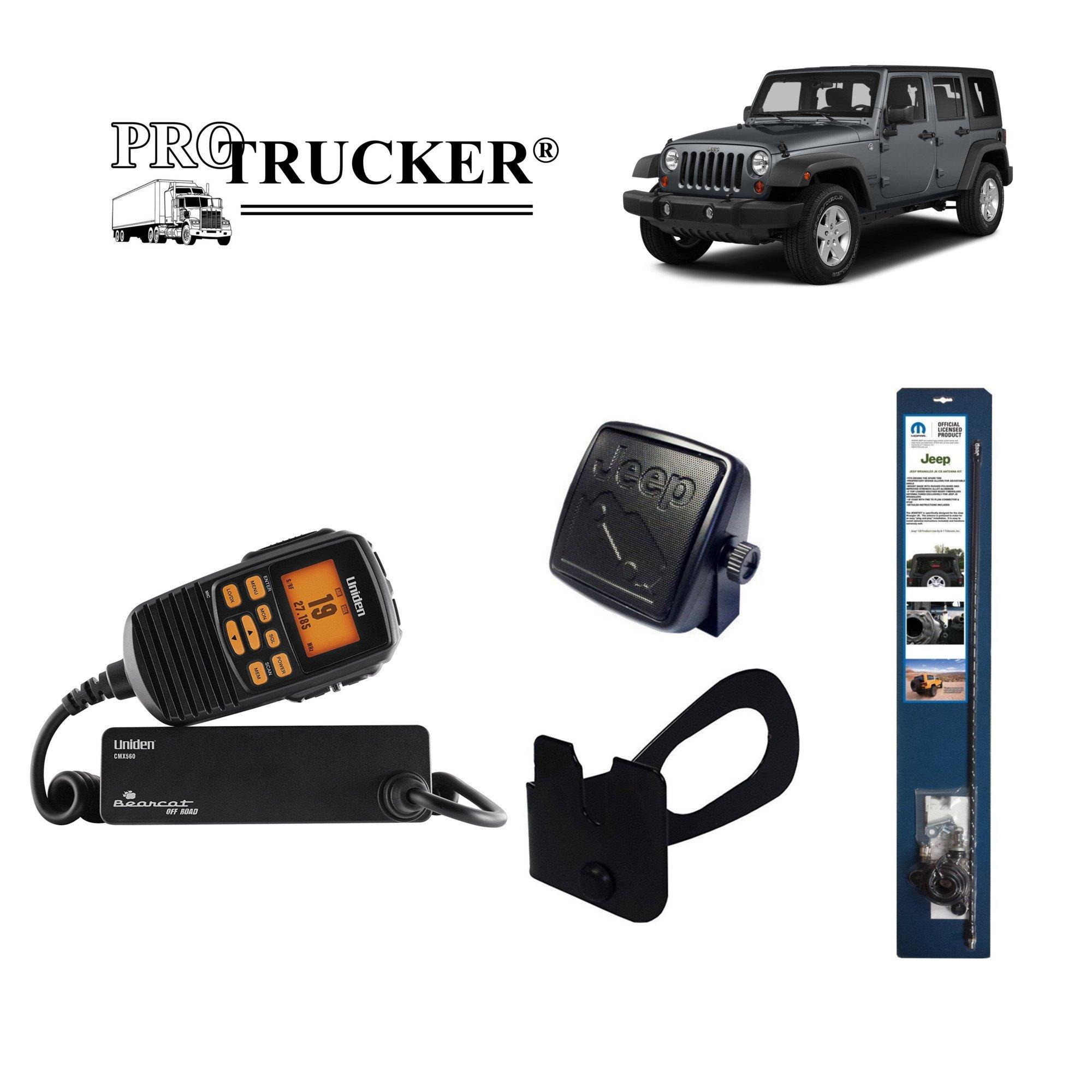 Pro Trucker 2007-Present Jeep JK CB Radio Complete Kit with Uniden Handheld CB Radio, 3' Mopar Antenna, Mount, Coax, Speaker, and Grab Bar Mount by Pro Trucker