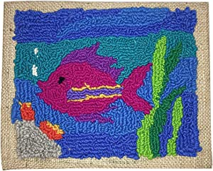 Harrisville Designs Friendly Loom Fish Rug Hooking Kit Building Kit with 2 Ply Wool Yarn, Weaving Crafts for Kids Age 8 and up